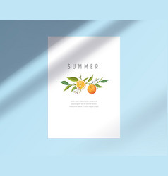 White paper sheet stationary template with lemon vector