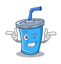 Wink soda drink character cartoon vector