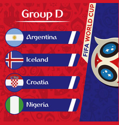 World cup 2018 group d team image vector