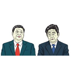 Xi jinping with shinzo abe portrait cartoon vector