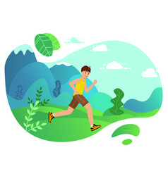 Young man running marathon landing page boy vector