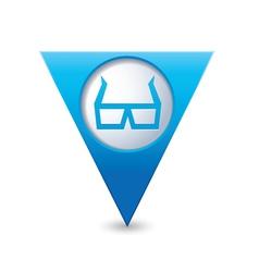 3d cinema glasses icon pointer blue vector image