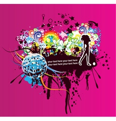 concert poster with mirrorball vector image vector image