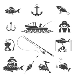 Fishing black icons set vector image