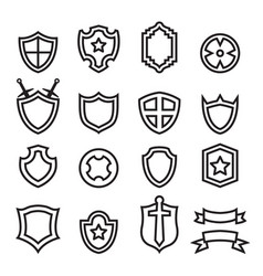 outline shield icon set vector image vector image