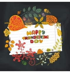 Thanksgiving dayAutumn leaves circleChalkboard vector image vector image