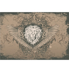 Vintage background with lion head vector