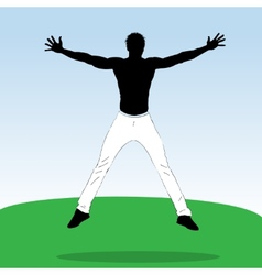 Young jumping athlet vector image vector image