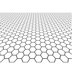 abstract black hexagon mesh perspective vector image