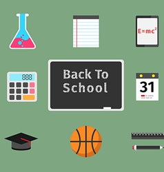Back to school flat concept set vector image