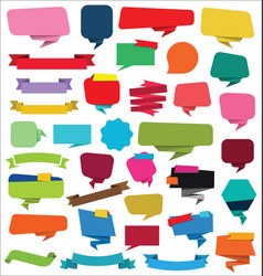 collection of empty ribbons stickers and tags vector image