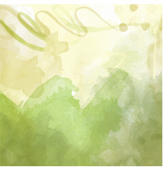 green hand drawn watercolor background vector image
