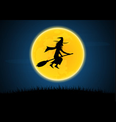 halloween silhouette witch on broom moon graveyard vector image