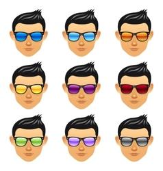 Male boy head with sunglasses vector