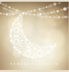 ornamental arabic half moon with bokeh lights vector image