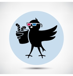 Bird with 3D Glasses vector image