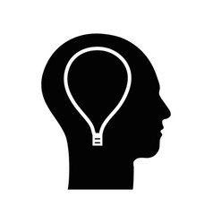Contour silhouette head with bulb inside vector