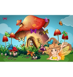 Fairy and butterflies at mushroom house vector image vector image