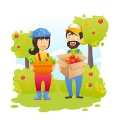 Farmers In Garden vector image