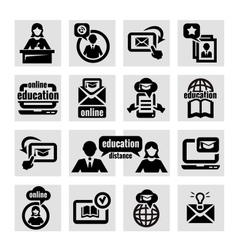 online education icons set vector image vector image