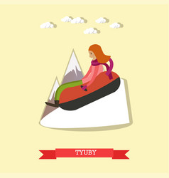 snow tubing in flat style vector image