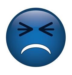 unhappy face emoticon funny icon vector image