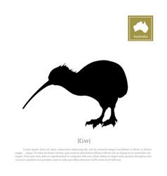 black silhouette of kiwi bird animals of australia vector image vector image