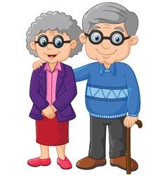 Cartoon elderly couple isolated on white backg vector image