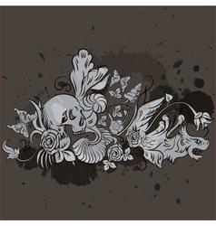 Grunge skull design vector image vector image