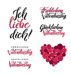 I Love You Happy Valentines Day German Black and vector image vector image