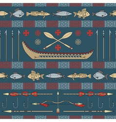Indian fishing - seamless pattern vector image vector image