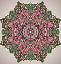 Mandala round ornament pattern with floral vector image vector image