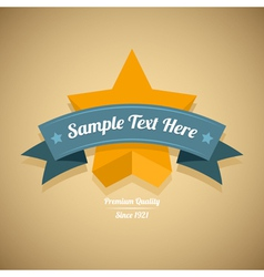 Retro label with gold star vector image