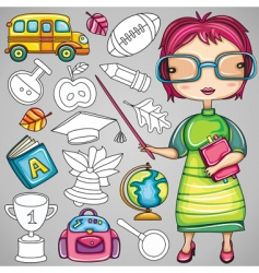 school doodle icons vector image vector image