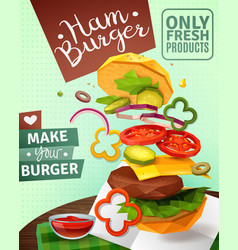 3d hamburger ad poster vector image