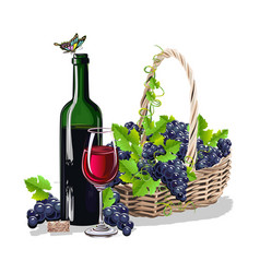 A bottle of wine and a basket of grapes vector