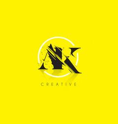 ak letter logo with vintage grundge drawing vector image