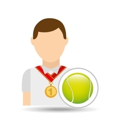 Athlete medal tennis ball icon graphic vector