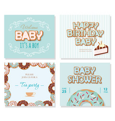 Baby shower cards set for boys sweet templates in vector