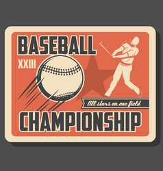 Baseball sport retro game invitation with player vector