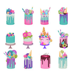 birthday cake cheesecake cupcake for happy vector image