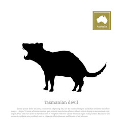 Black silhouette of tasmanian devil vector