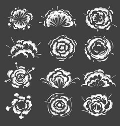 Blast explosion clouds bomb boom explodes icons vector