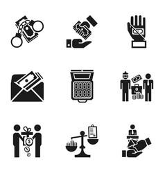 blood bribery money icon set simple style vector image
