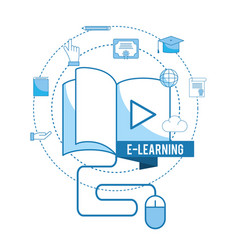 book video with mouse technology with diploma vector image
