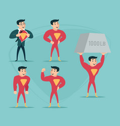 Businessman turns in superhero suit under shirt vector