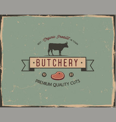 Butchery shop typography poster template in retro vector