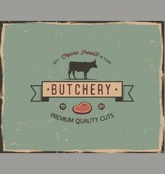 Butchery shop typography poster template in retro vector