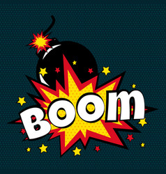 cartoon comic boom bubbles labels with text and vector image