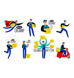 cartoon delivery courier vector image